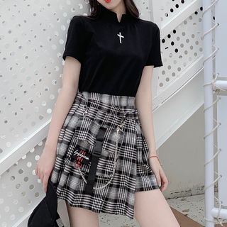 Sulis - Plaid Pleated Mini A-Line Skirt