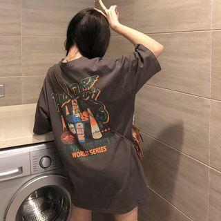 IndiGirl - Short Sleeve Printed Oversized T-Shirt