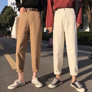KAKAGA - Cropped Straight Leg Pants