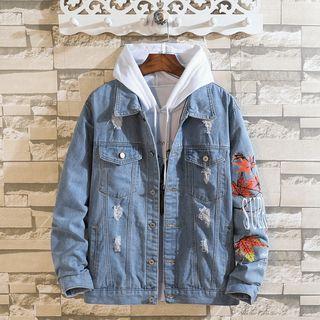 Ferdan - Leaf Print Buttoned Jacket
