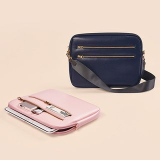 BABOSARANG - Zip-Detail Pleather Tablet Brief Case With Strap