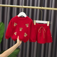 Mini Bae - Set: Kids Bear Embroidered Sweater + A-Line Skirt