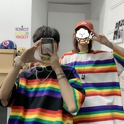 MIKAEL - Couple Matching Elbow-Sleeve Rainbow Stripe T-Shirt