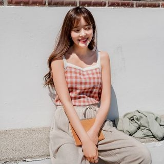 Envy Look - Gingham Knit Camisole Top