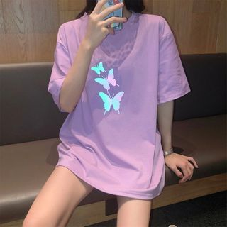 Alhambra - Oversized Butterfly Print Elbow-Sleeve T-Shirt