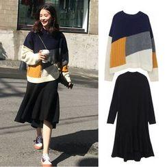 Solaria - Long-Sleeve Midi A-Line Dress / Color Block Sweater / Set