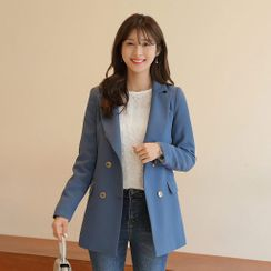 CLICK - Padded-Shoulder Double-Breasted Longline Blazer
