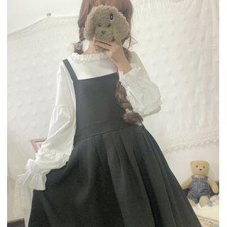 Hasna - Long-Sleeve Blouse / Mini A-Line Pinafore Skirt