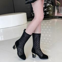 Shoes Galore - Lace Block Heel Mid-Calf Boots