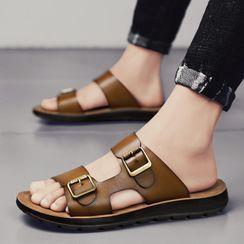 BELLOCK - Plain Faux Leather Slide Sandals