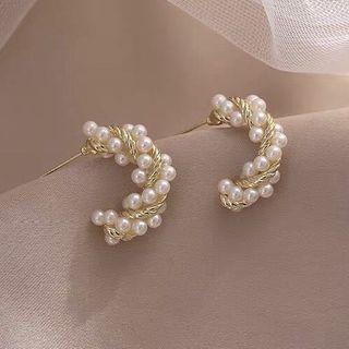 True Glam - 925 Sterling Silver Faux Pearl Earring