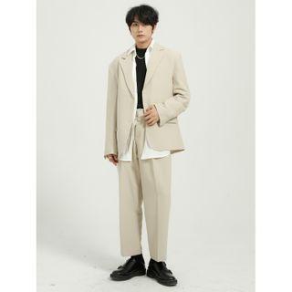 FAERIS - Plain Single-Breasted Blazer / Cropped Straight Leg Pants