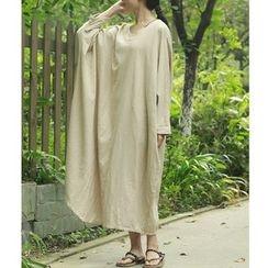 Fabric Sense - Long-Sleeve Linen Maxi A-Line Dress