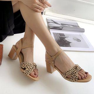 Freesia(フリージア) - Leopard Print Knotted Block Heel Sandals