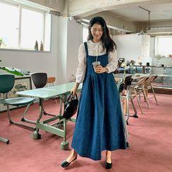 FROMBEGINNING(フロムビギニング) - Flared Denim Maxi Overall Dress