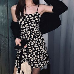 JOWI - Spaghetti Strap Floral Print Mini A-Line Dress