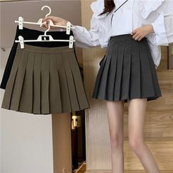 Sisyphi - Pleated Mini A-Line Skirt
