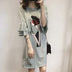 Vinales - Print Elbow-Sleeve T-Shirt Dress