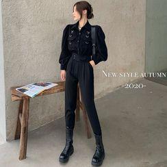 ever after - Workwear Bubble-Sleeve Plain Shirt / High-Waist Tapered Dress Pants