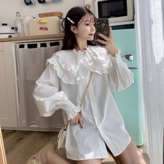 Sisyphi - Long-Sleeve Ruffle Trim Blouse