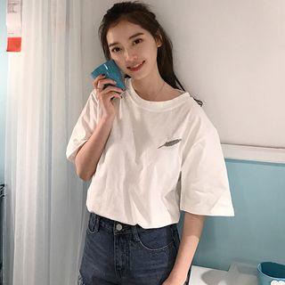 Carmenta - Elbow-Sleeve Feather Printed T-Shirt