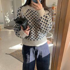 UPTOWNHOLIC - Round-Neck Pattern Wool Blend Knit Top