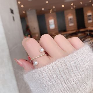 Faux Pearl Open Ring