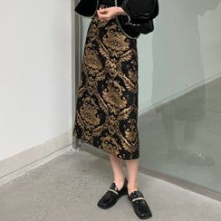 Cloudmarch - Foil Embroidery Midi Skirt