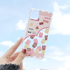 Mobby - Bear Print Transparent Phone Case - iPhone 11 Pro Max / 11 Pro / 11 / XS Max / XS / XR / X / 8 / 8 Plus / 7 / 7 Plus / 6s / 6s Plus