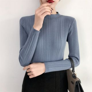 Carmenta(カルメンタ) - Mock Neck Long-Sleeve Knit Top