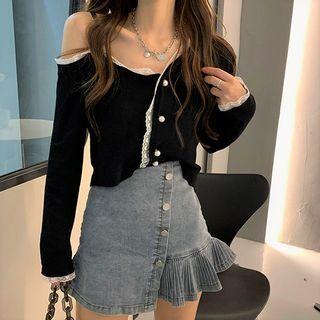 Pobblebonk - Lace Trim Cold-Shoulder Cardigan
