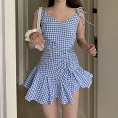 Dinse - Sleeveless Check Ruffled V-Neck Dress