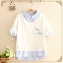 Kawaii Fairyland - 假兩件襯衫太陽印花短袖T裇