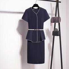 MARGOT - Belted Peplum Mini Shift Dress