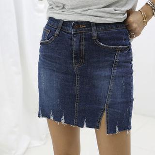 DANI LOVE - Inset Shorts Denim Miniskirt