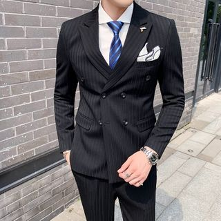Bay Go Mall - Set: Double-Breasted Striped Blazer + Vest + Dress Pants