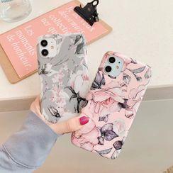 Vachie - Floral Print Mobile Case - iPhone 11 Pro Max / 11 Pro / 11 / XS Max / XS / XR / X / 8 / 8 Plus / 7 / 7 Plus / 6s / 6s Plus