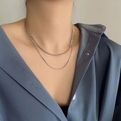 Juanitro - Couple Matching Layered Herringbone Chain Choker