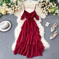 Lucuna - Cap-Sleeve Cold-Shoulder Midi A-Line Chiffon Dress
