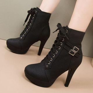 Weiya - Lace-Up High-Heel Short Boots