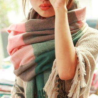 Pompabee - 格纹长款围巾