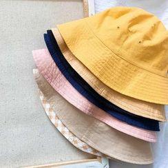 Hello minto - Reversible Plaid & Plain Bucket Hat