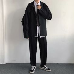 Ateso - Set: Plain Blazer + Neck Tie + Shirt + Straight-Cut Pants