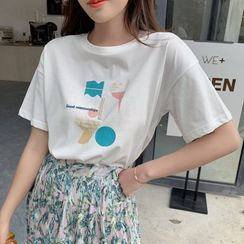 everbelleza - Short-Sleeve Graphic Print Embellished T-Shirt