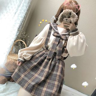 Honey Diary - Bow-Accent Blouse / Plaid Suspender Pants / Mini A-Line Suspender Skirt