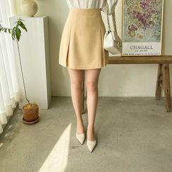 MyFiona - Inset Shorts Box-Pleated Miniskirt