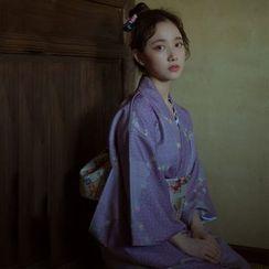 Akane - 中袖印花和服連衣裙