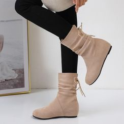 Shoes Galore - Hidden Wedge Lace-Up Back Short Boots