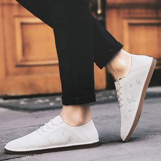 NOVO - Perforated Faux-Leather Flat Lace-Up Shoes