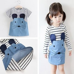 VIZZI - Kids Mouse Motif Striped Dress